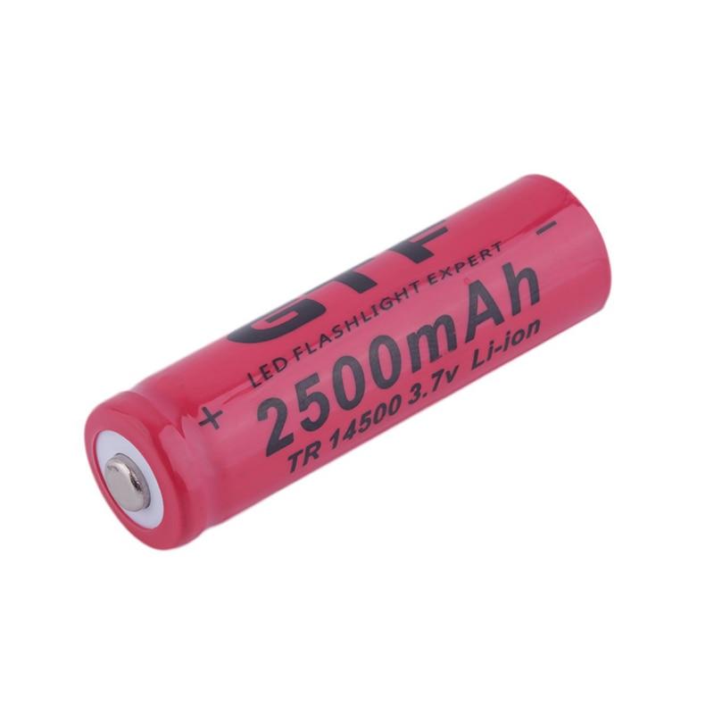 GTF 2500mAh 14500 akumulator litowy wielokrotnego ładowania wskazówka 3.7 V latarka akumulator bateria Dropshipping