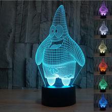 2016 Creative Patrick Star Lampe 3D Bulbing Illusion Bedroom Night Light for Children 7 Color Change Led Desk Light Lamp Led