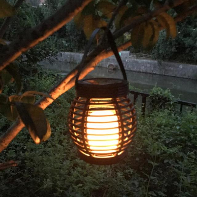 LED imperméable à leau solaire alimenté bougie lanterne lampadaire rotin lumière pour jardin cour extérieure