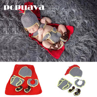 POPUAVA Baby Newborn Photography Props Hand Crochet Knit Props Beanie Children S Knight Suit With Cape