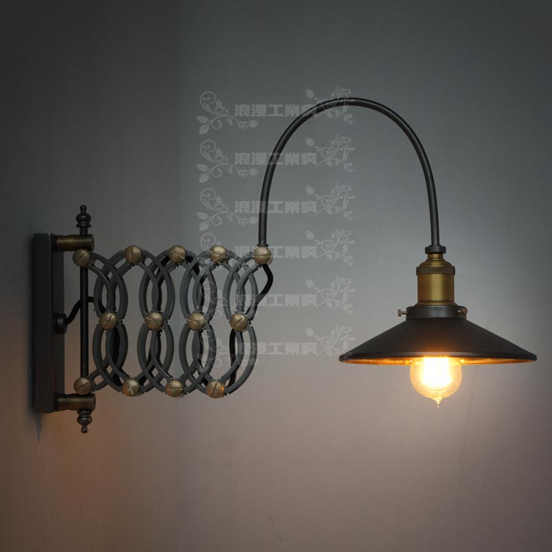 Vintage Bedside Wall Lamps : Free shipping new arrival 2014 romantic vintage industrial style bedside lamp retractable ...