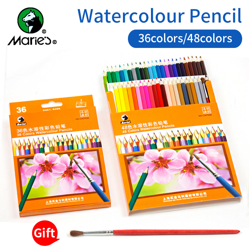 Marie's 36/48colors Water Soluble Colored Pencils lapis Water-Soluble Color Pencil For Artist School Art Supplies faber castell 48 60 colors watercolor colored pencils lapis water soluble color pencil school art supplies lapices de colores