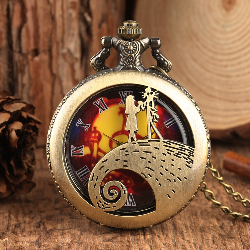 Retro Bronze The Nightmare Before Christmas Pocket Watch Chain Tim Burton Jack Skellington Pendant Gifts Relojes De Bolsillo