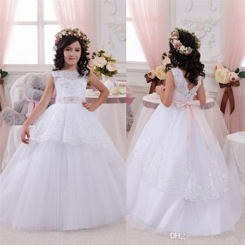 Afford Sequins Flower Girls Dresses With Ribbon Sheer Neckline Kids Wears White Dress For Communion Wedding