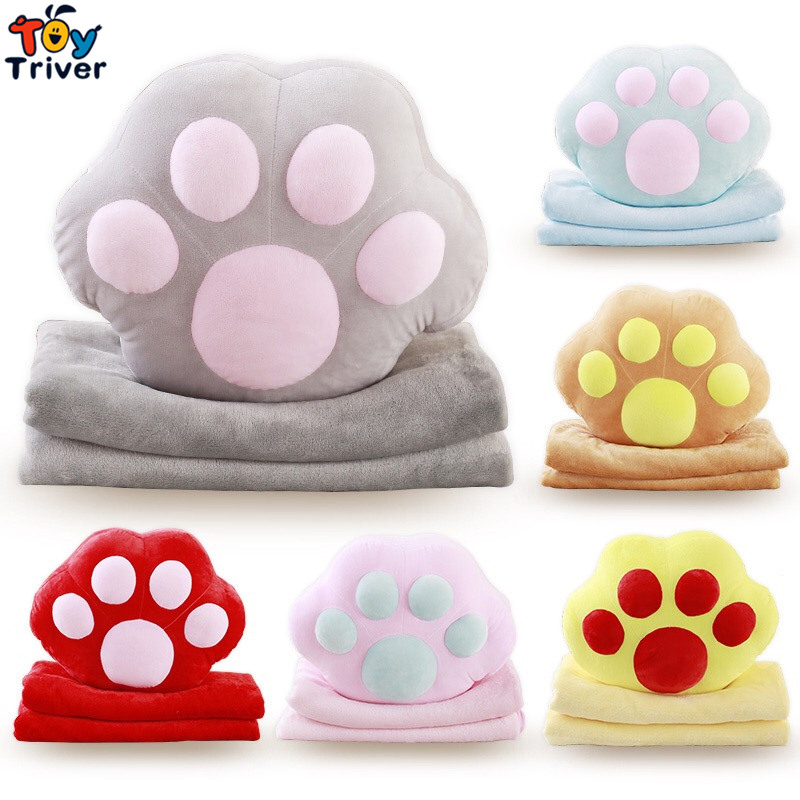 Plush Dog Cat Claw Portable Blanket Hand Warm Cushion Pillow Toy Doll Baby Kids Shower Car Office Nap Carpet Birthday Gift lovely hellokitty plush toy creative plush pillow donut cushion office nap cushion sofa