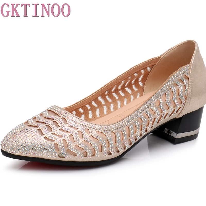 GKTINOO Rhinestone Pointed Toe Gauze Pumps Cut Outs Women Shoes Genuine Leather Comfortable High Heels Shoes