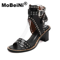 2016 New Summer Style Casual Lady Punk Sexy Woman Fashion Ankle Strap Rome Medium Heel Shoes
