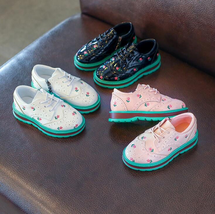 2018 spring and autumn new British style children casual shoes breathable boys shoes Floral girl flat bottom students sneakers