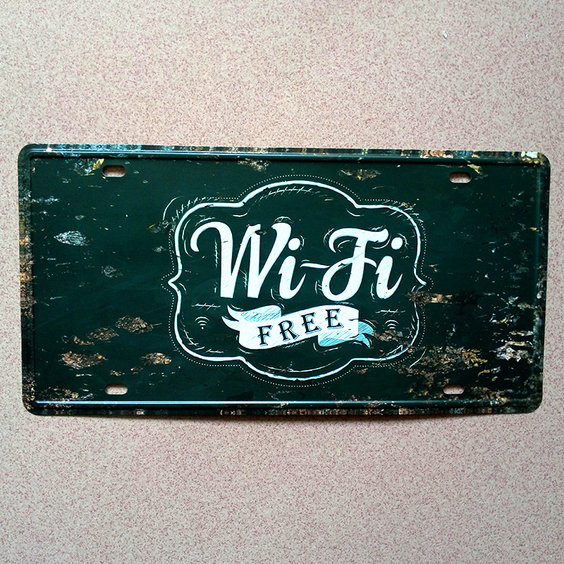high quality New car number  WIFI free here  Vintage matal tin signs bar wall art craft home decor plates 30*15 CM