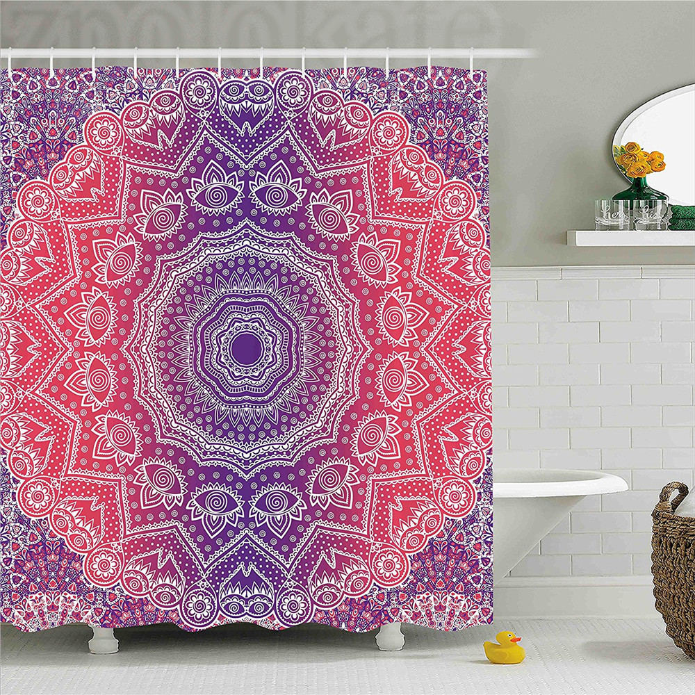 Pink and Purple Shower Curtain Vintage Art in Mandala Print Ombre Myriad Realms Icon Geometry Design Bathroom Decor Set with Hoo