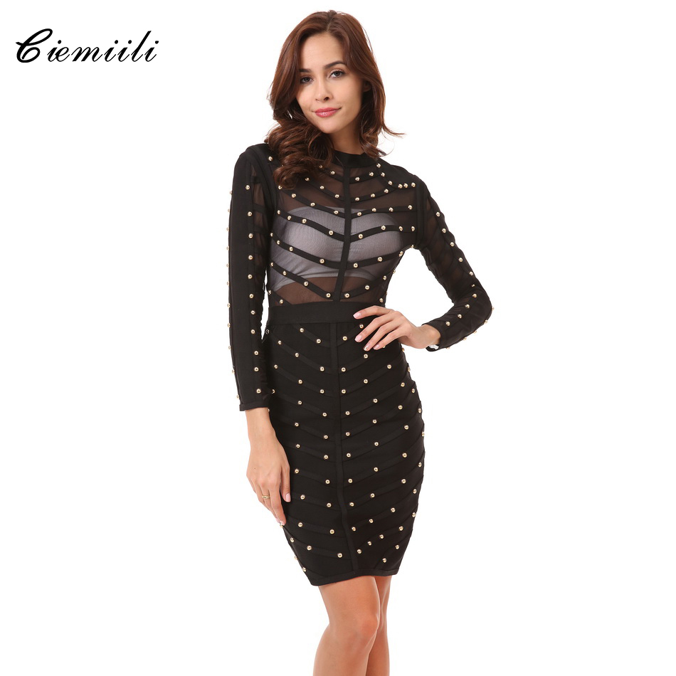 CIEMIILI 2019 Beading Dress Women New Evening Party Bandage Dress Stretch Mesh Knee length Long Sleeve