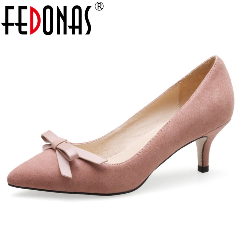 FEDONAS Elegant Women Bowknot Weddding Party Shoes Woman Sexy Pointed Toe Genuine Leather Office Pumps Female