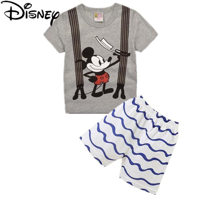 66b04b37de Disney mickey mouse summer baby boys cotton t-shirt children's T-shirts+ Shorts 2pcs children's clothing