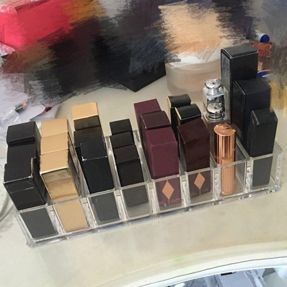 Practical Clear Acrylic Makeup Arrangement Storage Box Lipstick Holder Transparent Multi-Slots Desktop Cosmetic Organizer