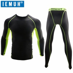 IEMUH Outdoor Sport Thermal Underwear Sets Men Quick Dry Anti-microbial Stretch Hiking Camping Ski Underwear Male Warm Fitness