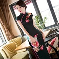 Modern Chinese Traditional Dress Black Prom Dresses Silk Qipao Sexy Cheongsam Embroidery Oriental Evening Dress Vestido QL