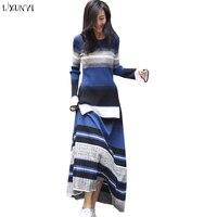 LXUNYI Casual Striped Two Piece Set Women Suit Set Knitted Women Goddess Skirt Set Knit Long Sleeve Top And Skirt Sweater Sets