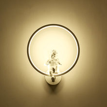 European Style Wall Lamp Indoor Black White Wall Light Art Sconce Interior Angel Home Living Room Decoration Wall Lamps(China)