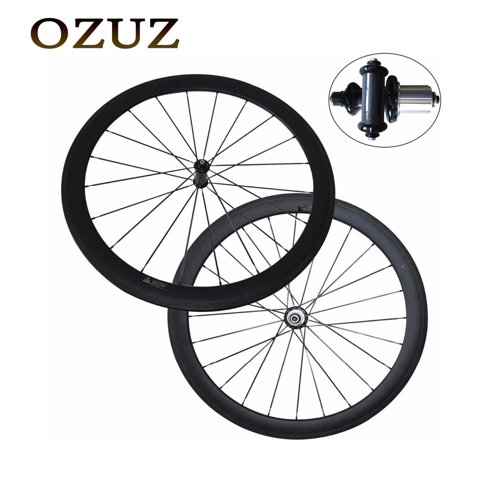 Free Custom Factory Sales OZUZ Straight Pull Carbon Wheel 50mm Clincher Tubular Road Wheelset 3K Matte or Glossy Bicycle Wheel free custom fee carbon road bicycle bike wheel ceramic bearing 50mm clincher tubular powerway r13 700c single wheel or wheelset