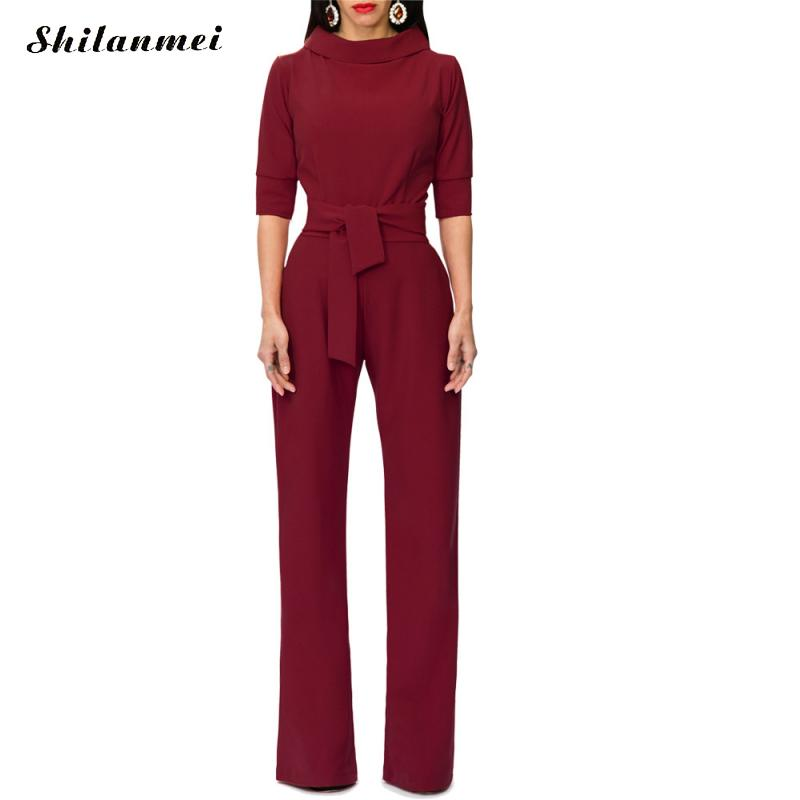 2018 Romper Long Women Bowknot Bandage Jumpsuit Elegant Slim Brief Winter Jumpsuit Work Office Business Long Pants Playsuit Set