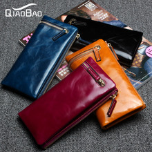 QIAO BAO 2017 Long Purse New Fashion Women Wallets Genuine Leather Purse Female Cowhide Day Clutch