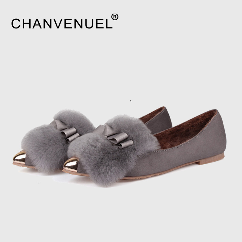 2017 Winter Women's Shallow Fur Inside Pointed Toe Boat Shoes Cute Rabbit Hair Warm Flats Shoes For Women Girls Plus Size 11 rabbit hair lady autumn winter new weaving small pineapple fur hat in winter to keep warm very nice and warm comfortable