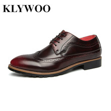 KLYWOO Brogue Men Dress Shoes Leather Men Shoes Oxfords Formal Spring High Quality Leather Shoes Business