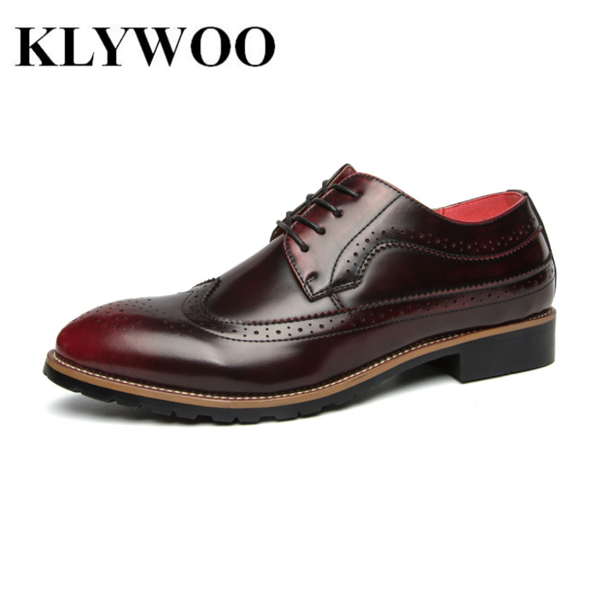 KLYWOO Brogue Men Dress Shoes Leather Men Shoes Oxfords  Formal Spring High Quality Leather Shoes Business Dress Men Shoes Red