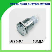 16 mm Flat head metal push button switch reset button 3 a250v moment start