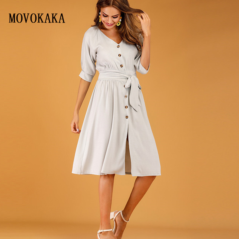 Hot Long Dress Elegant Cotton Button Sexy Dresses Slim Vestidos Summer Dress Women Party Casual Sashes