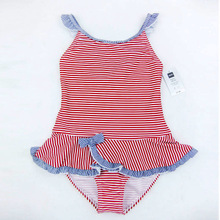 2016 Kids One Piece Swimsuit Girls Swim Suit Children Swimwear Pink Stripes POLYAMID Braces Maillot With Skirt Briefs Bottom