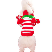 Durable Red with White Knit Pet Dog Sweater Clothes Coat Apparel,Large