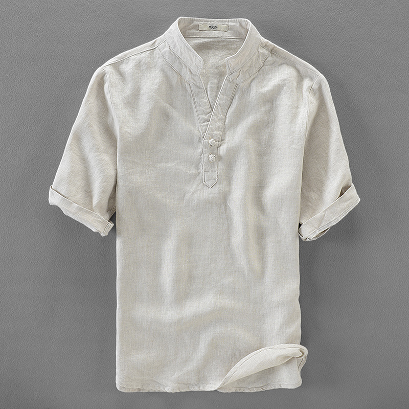 Italy brand linen shirts men short sleeve flax men shirt short sleeve fashion shirts mal ...