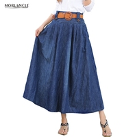 MORUANCLE Women's Casual Wide Flare Pleated Jeans Skirt Ladies Ankle Length Long Denim Skirts Plus Size S-5XL 2017 New