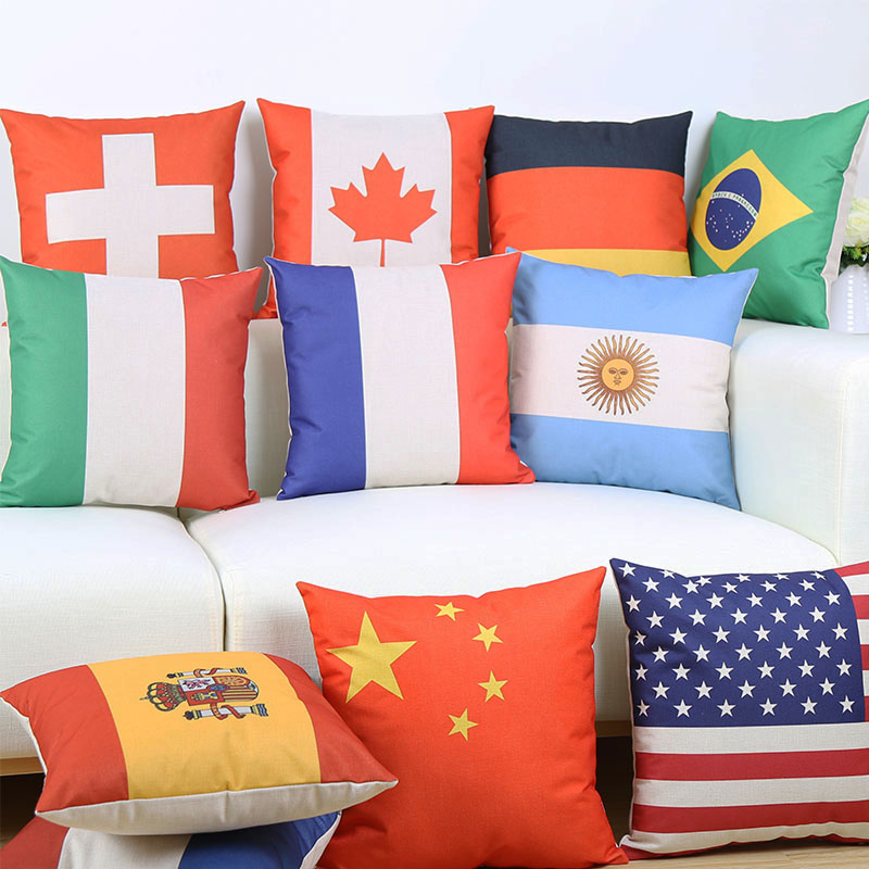 France Italy Germany Flag Team logo Printed Cushion Covers Decorative Beige Linen Pillow Case 45X45cm Free Shipping