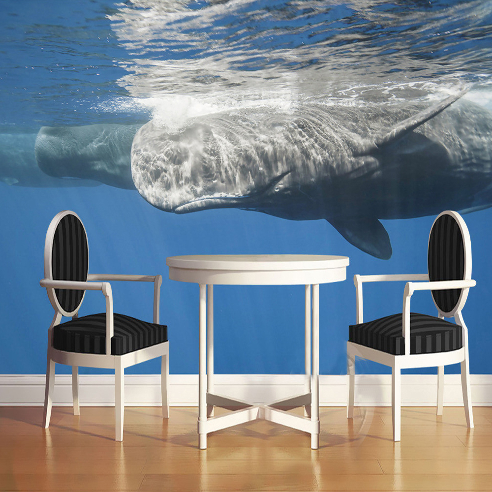 Custom 3D Photo Wall Paper Deep-sea Whale Stereoscopic Renderings Art Mural Wall Painting Living Room Bedroom Wallpaper Modern