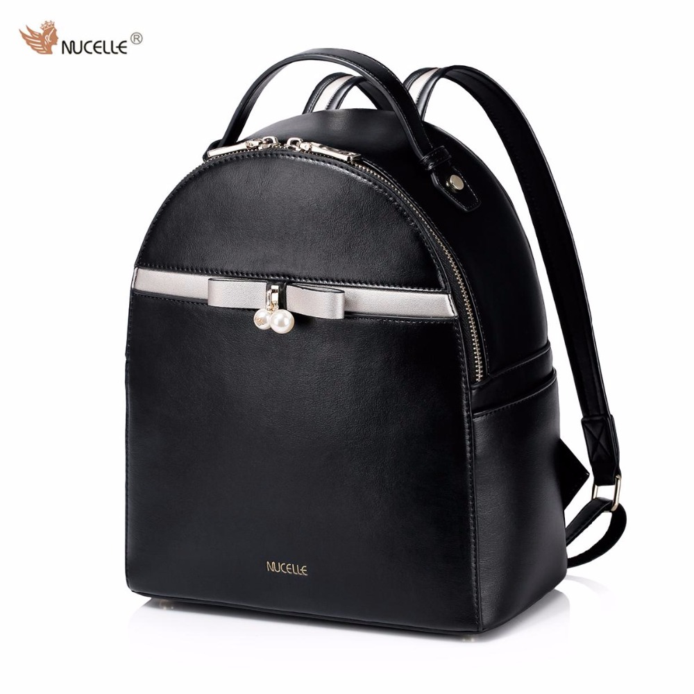 ФОТО NUCELLE Brand New Design Fashion Pearls Bowknot High Quality PU Leather Casual Women Lady Backpacks School Shoulders Bag