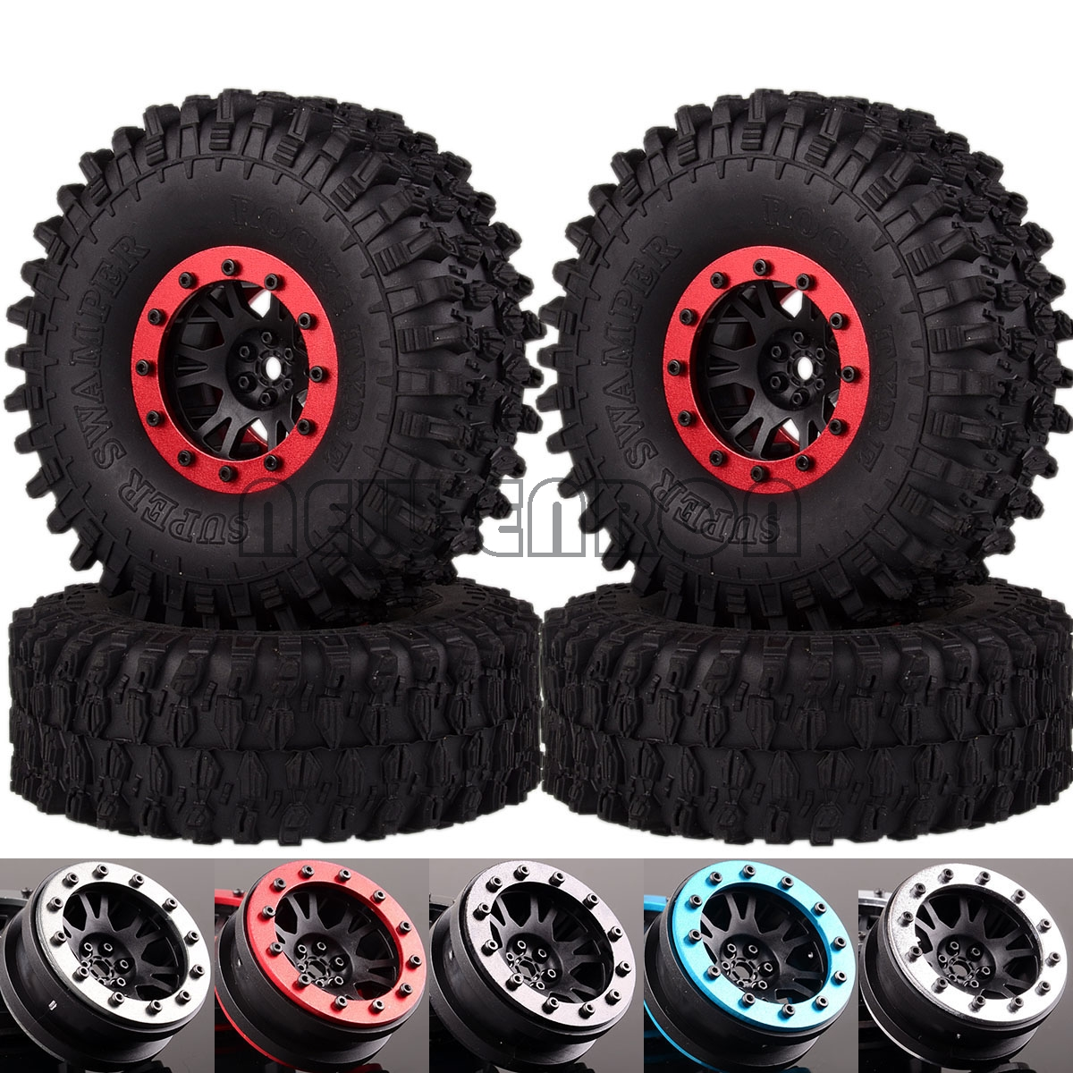 "NEW ENRON 4P 1.9"" Beadlock Wheel Rims 120MM Tires Tyre For RC 1/10 Crawler TRX-4 Tamiya CC01 MST jimny RC4WD TF2 D90 D110 90046(China)"