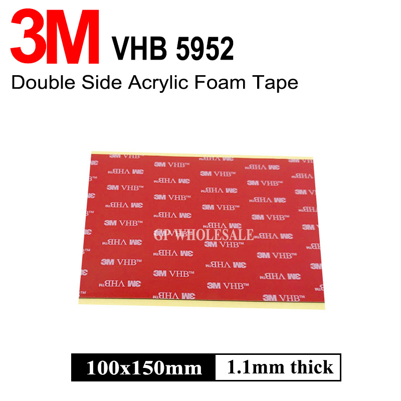 1piece 3M VHB 5952 Heavy Duty Double Sided Adhesive Acrylic Foam Tape Black 150mmx100mmx1.1mm 1piece 3m vhb 5952 heavy duty double sided adhesive acrylic foam tape black 150mmx100mmx1 1mm