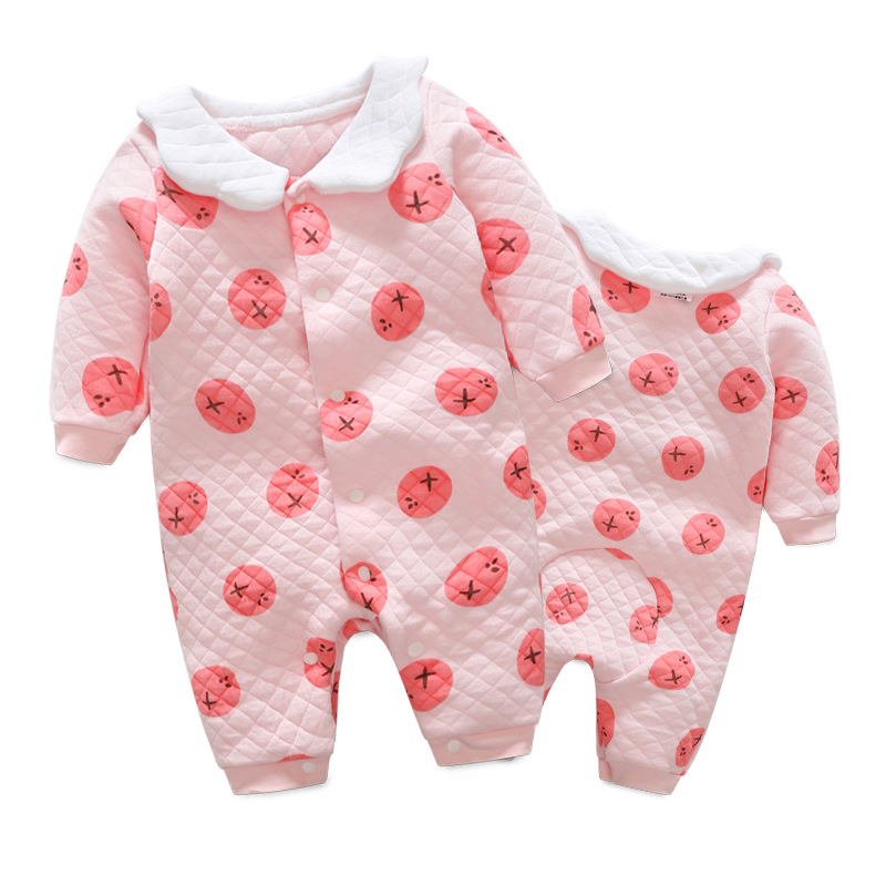 Lovely baby girls thick multi-layer cotton long sleeve rompers fashion autumn winter kids pink overalls infant jumpers 17A801