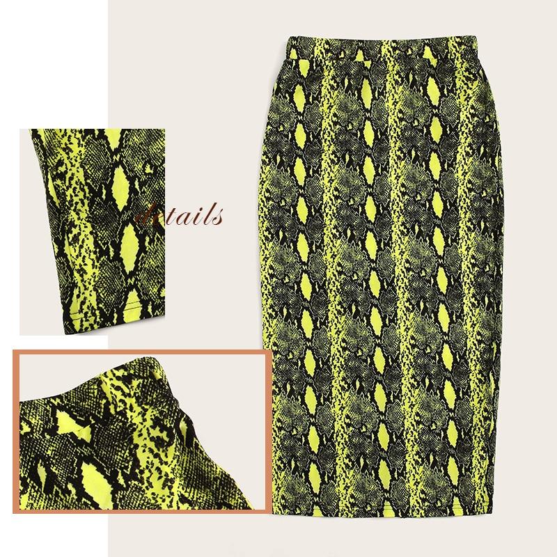 Image 5 - SweatyRocks Split Hem Snakeskin Print Pencil Skirt For Women Elegant Multicolor Long Skirts Womens 2019 Neon Lime Bodycon Skirt-in Skirts from Women's Clothing