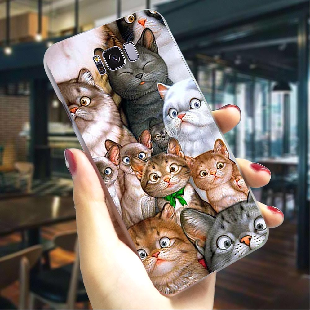 <font><b>Cat</b></font> Face Hard Cover for <font><b>Samsung</b></font> <font><b>Galaxy</b></font> A3 2017 Phone <font><b>Case</b></font> for A5 2016 A6 2015 A7 <font><b>2018</b></font> <font><b>A8</b></font> Plus A9 A10 A20 A30 A40 A50 A70 image