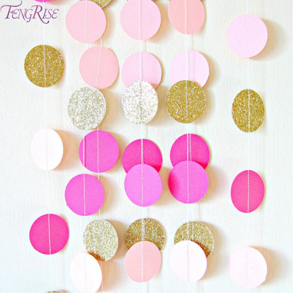 FENGRISE Pink White Gold Banner Bunting Hanging Garland Paper Round Circle String Valentine Birthday Party Wedding Decoration