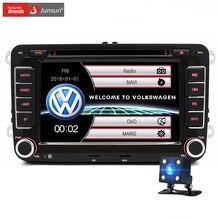 Junsun 7 дюймов 2 Din Автомобильный GPS Навигации DVD Радио-Плеер Для VW/Volkswagen/Passat/GOLF/Skoda сенсорный Экран с Бесплатным Камера Заднего вида