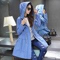 Clássico quente mulheres casaco com capuz impresso elegante Outerwear outono Zippers Streetwear Trench