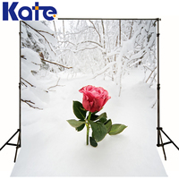 Kate Winter Background Red Rose In Snow Backdrop Photography Scenery Heavy Snow Branch Background For Photo Studio