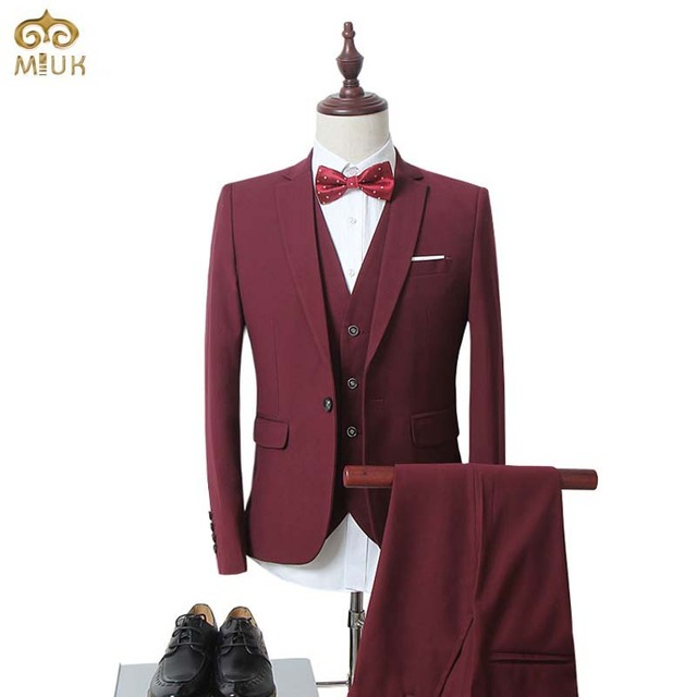 MIUK 2017 (Jacket+Vest+Pants)Men Slim Fit Suits Plus Size M-6XL Mens White Wedding Suits With Pants Business Mens Formal Wear