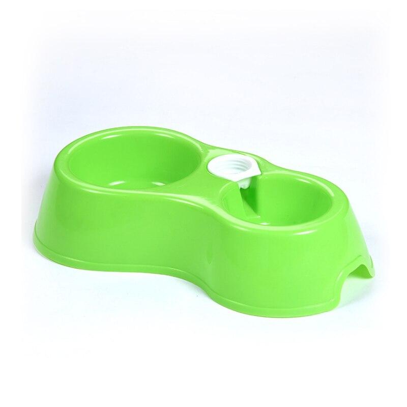 Портативный питатель для домашних животных пластиковый двойной порт автоматическая подача питьевой воды кормления миски для еды для кошек домашних собак без бутылки - Цвет: Зеленый