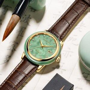 Image 2 - Luxury Real Jade männer Handgelenk Uhren Edelstahl Automatische Mechanische Uhr 30M Wasserdichte Kalender Männer Uhr uhren hombre
