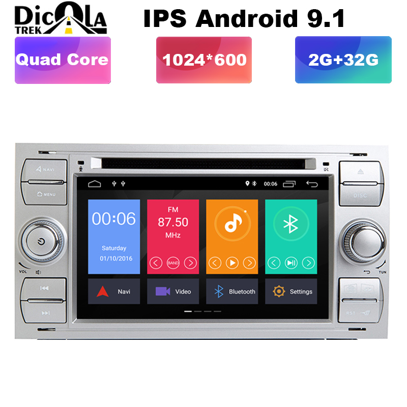 7 2 din android 9 1 Quad cores car dvd player gps for ford focus 2